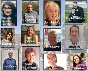A picture with profile photographs of the central admin team. Vasu, Graham, Anna, Stephen, Neha, Tracy, John, Julia, Nick, Trish, Kirsty and Emma